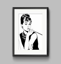 AUDREY HEPBURN PICTURE BLACK AND WHITE Print POSTER A4 or A3 Wall Art HOME DECOR
