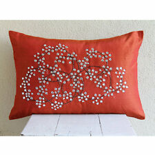 Crystals Orange Art Silk 30x35 cm Lumbar Cushion Cover - Rusty Crystal Circles