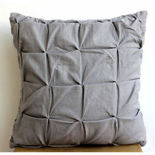 Grey Linen Texture - Grey Cotton Linen 50x50 cm Cushion Cover