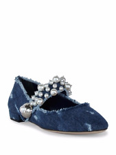 MIU MIU PRADA SEXY CUTE PEARL DISTRESSED MARY JANE FLATS EU 40 US 9