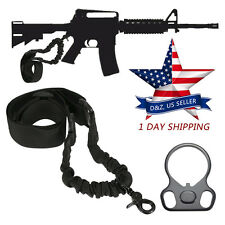 AR 15 223 Single Point Sling With Adapter Dual Plate Mount Bungee Tactical Rifle