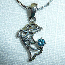 Natural Topaz and Garnet Sterling Silver Dolphin Filigree Solitaire Necklaces