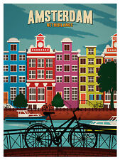 Vintage Travel art Print amsterdam holland canvas or satin photo poster