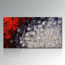 Hand Painted Abstract Oil Painting Red White Canvas Wall Art Modern Decor Framed