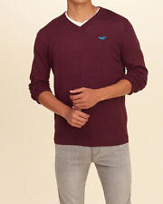 Abercrombie & Fitch - Hollister Mens V Neck Icon Sweater Pullover S Burgundy NWT