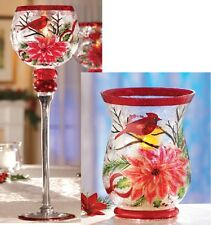 Christmas Cardinal Glass Candle Holders Stemmed OR Hurricane  GORGEOUS!!!!