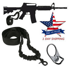NEW Tactical Bungee AR15 Single Point Sling + Adapter Plate Mount Rifle Sling US