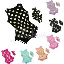 Infant Baby Girls Polka Dot Romper One Piece Playsuit Jumpsuit + Headband Set