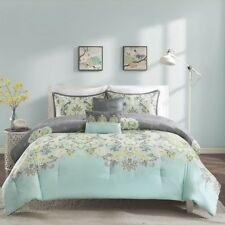 Twin XL Full Queen Cal King Bed Teal Blue Gray Grey Paisley 5 pc Comforter Set