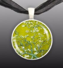 """Almond Tree Branches w/ Flowers in Yellow Van Gogh Painting 1"""" Pendant Necklace"""