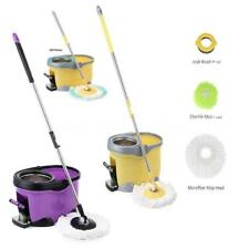 Stainless Steel Rotating Spin Mop And Bucket Set With Foot Pedal 4 Mop Head V1D8