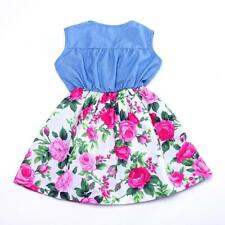 Girl Dress Denim Floral Skirt with Rose Girls Clothes Kids Skirt