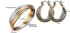 Stainless Steel 3-bangles Titanium Silver Gold Rose gold hoop round earrings SET