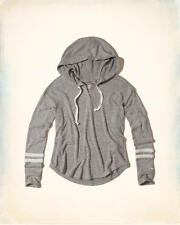 Abercrombie & Fitch – Hollister Womens Hoodie Tee Textured Fleece L Grey NWT