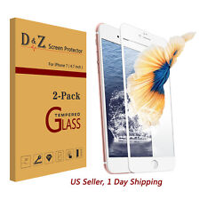 LOT 2Pcs Full Coverage Tempered Glass Film Screen Protector for iPhone 7
