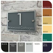 Modern House Name & Number Plate Glass Effect Door Sign Address Plaque Rectangle