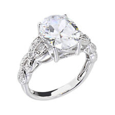 14k White Gold Plated Women's Engagement Wedding Ring Oval Cut CZ  Promise Ring