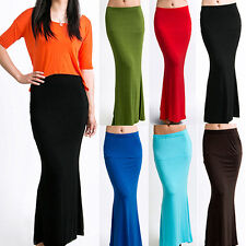 Women's Long Maxi Skirt Candy Color Jersey Flared Summer Casual Dress Virtuous