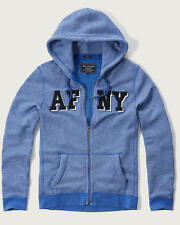Abercrombie & Fitch Mens Hoodie Jacket Embroidered Logo Graphic Zip M Blue NWT