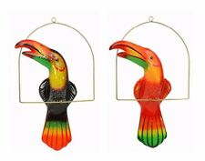 "Garden Patio Decor, Hanging Ceramic Bird, Multi-Color Toucan with Perch- 21""Tall"