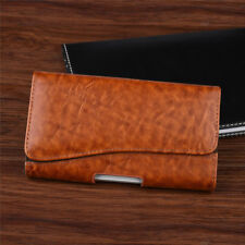 Horizontal Business Men's Leather Cell Phone Pouch Case Cover Belt Loop Holster