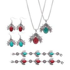 Turquoise Silver Engraved Beetle Baroque Earring Necklace Bracelet Jewelry Set