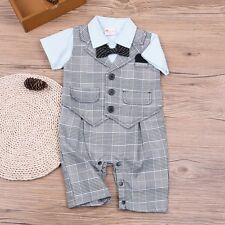 Infant Baby Boy Formal Party Wedding Tuxedo Plaid Romper Suit Outfit Clothes Set