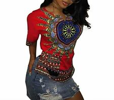 Womens Red Tribal Dashiki T Shirt