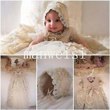 New Baby Baptism Dress Girl/Boy White Ivory Christening Gown Luxury With Bonnet