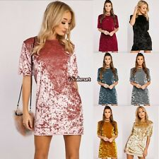 Women Casual Fleece Short Sleeve Solid O Neck Pullover Slim Mini Dress ES8801
