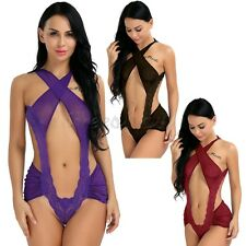 Women Sexy Hollow Out Lace Lingerie Babydoll G-String Thong Bodysuit Nightwear