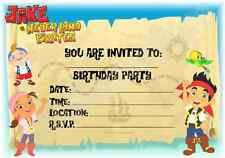 A5 KIDS CHILDRENS PARTY INVITATIONS X 12 - JAKE AND THE NEVERLAND PIRATES