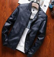 Mens PU Leather Slim Fit Zip Coats Casual Jackets Motorcycle Jackets Fashion K71