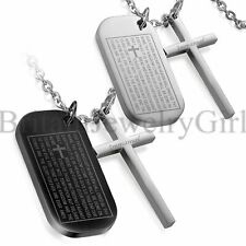 2pcs Stainless Steel Mens English Bible Prayer Cross Dog Tag Pendant Necklace