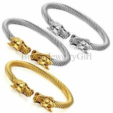 Gold Silver Tone Dragon Stainless Steel Twisted Cable Mens Bracelet Bangle Cuff
