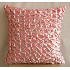 Knotted Pintucks Pink Velvet 40x40 cm Cushion Covers - Soft Pink Snow