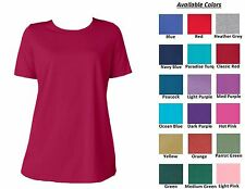 NEW Women's Perfect Scoop Crewneck T-Shirt Top Short Sleeves Plus Big Size M-6XL