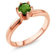 0.50 Ct Round Green Chrome Diopside 14K Rose Gold Ring