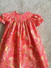READY TO SMOCK PINKISH AND YELLOW PAISELY PRINT BISHOP DRESS SIZES 3MOS TO 4T