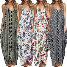 Hippie Womens Boho Long Maxi Dress Loose Summer Beach Evening Vintage Sundress