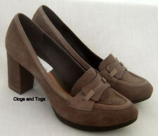 NEW CLARKS BONNIE LAD WOMENS STONE SUEDE PLATFORM SHOES