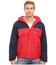 U.S. POLO ASSN Mens Windbreaker Jacket Color Block Fixed Hood L Red Navy NWT