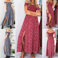 Summer Sexy Women Off Shoulder Floral Print Split Dresses Pleated Long Dress