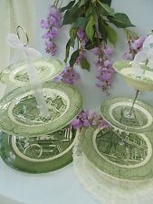Green Transferware Rustic Wedding 3 Tier Cake Stand Tiered Serving Tray Vintage