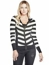 GUESS Womens Sweater Knit Hoodie Logo Zip Up Striped XS S M Black/Off White NWT
