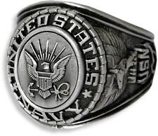 UNITED STATES NAVY SIGNET RING ANTIQUED SILVER (SP) INSIGNIA WITH RHODIUM FINISH