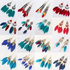 1Pair Fashion Women Handmade Feather  Earrings Dangle Eardrop Hook Jewelry