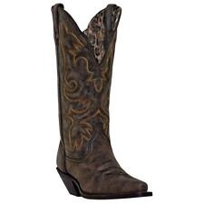 "Laredo Western Womens Boots 12"" Cowboy Access Black Tan 51079"