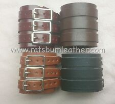 A PAIR Leather 3 strap wrist band cuff Bracelet Depp Elliott smith wristcuff