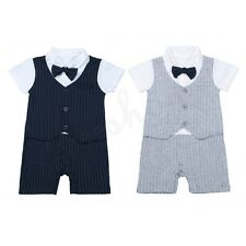 Baby Boys Toddler Formal Tuxedo Wedding Striped Romper Gentleman Outfit Clothes